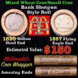 Mixed small cents 1c orig shotgun roll, 1857 Flying Eagle Cent, 1890 Indian cent other end, McDonald