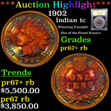 Proof ***Auction Highlight*** 1902 Indian Cent 1c Graded Gem++ proof RB By USCG (fc)