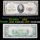 1929 $20 National Currency Type 1  'The First National Bank Of Santa Ana, CA' Grades vf++