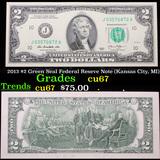 2013 $2 Green Seal Federal Reseve Note (Kansas City, MI) Grades Gem++ CU