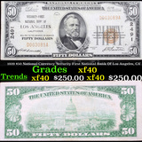 1929 $50 National Currency 'Security-First National Bank Of Los Angeles, CA' Grades xf