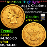 ***Auction Highlight*** 1841 C Charlotte Gold Liberty Half Eagle $5 Graded xf45 details By SEGS (fc)