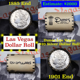 ***Auction Highlight*** Full Morgan/Peace Dunes Hotel silver $1 roll $20, 1885 & 1901 end (fc)
