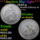 ***Auction Highlight*** 1842-p Seated Liberty Dollar $1 Grades AU Details (fc)