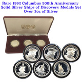 1992 Columbus 500th Anniversary Solid Silver Ships of Discovery Medals Set Over 2oz of silver