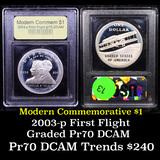 Proof 2003-P First Flight Modern Commem Dollar $1 Graded GEM++ Proof Deep Cameo By USCG