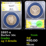 ANACS 1897-s Barber Half Dollars 50c Graded ag 3 details By ANACS