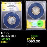 Proof ANACS 1895 Barber Quarter 25c Graded pr60 By ANACS