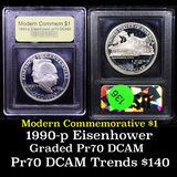 Proof 1990-P Eisenhower Modern Commem Dollar $1 Graded GEM++ Proof Deep Cameo By USCG
