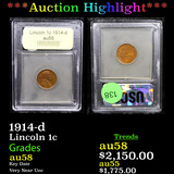 ***Auction Highlight*** 1914-d Lincoln Cent 1c Graded Choice AU/BU Slider By USCG (fc)