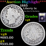 ***Auction Highlight*** 1885 Liberty Nickel 5c Graded vg, very good By USCG (fc)