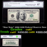 *Star Note* 2006 $100 Federal Reserve Note Graded cu67 By CGA