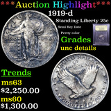 ***Auction Highlight*** 1919-d Standing Liberty Quarter 25c Graded Unc Details By USCG (fc)