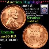 ***Auction Highlight*** 1927-d Lincoln Cent 1c Grades GEM Unc RD (fc)