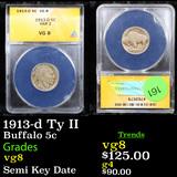 ANACS 1913-d Ty II Buffalo Nickel 5c Graded vg8 By ANACS