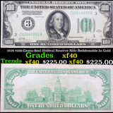 1928 $100 Green Seal Federal Reserve Note Reddemable In Gold Grades xf
