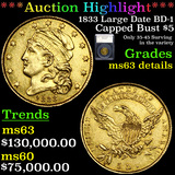 *HIGHLIGHT OF ENTIRE AUCTION* 1833 Large Date BD-1 Gold Capped Bust Half Eagle $5 Graded ms63 detail