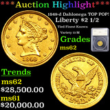 *HIGHLIGHT OF ENTIRE AUCTION* 1849-d Dahlonega TOP POP! Gold Liberty $2 1/2 ms62 By SEGS (fc)