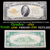 1928 $10 Gold Certificate, Signatures Woods/Mellon Fr-2400 Grades vf+