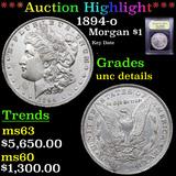 ***Auction Highlight*** 1894-o Morgan Dollar $1 Graded Unc Details By USCG (fc)