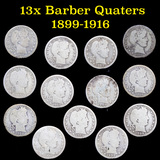 Group of 13 Mixed Date Barber Quarters