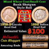 Mixed small cents 1c orig shotgun roll, 1919-d Wheat Cent, 1892 Indian cent other end, McDonalds Wra
