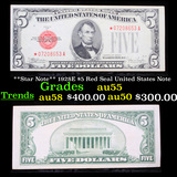 **Star Note** 1928E $5 Red Seal United States Note Grades Choice AU