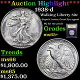 ***Auction Highlight*** 1938-d Walking Liberty Half Dollar 50c Graded GEM+ Unc By USCG (fc)