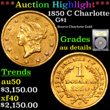 ***Auction Highlight*** 1850 C Charlotte Gold Dollar $1 Graded AU Details By USCG (fc)