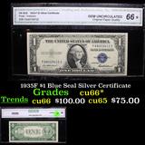1935F $1 Blue Seal Silver Certificate  Graded cu66* By CGA