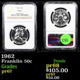 Proof NGC 1962 Franklin Half Dollar 50c Graded pr67 By NGC