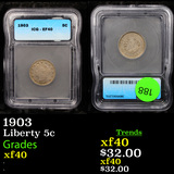 1903 Liberty Nickel 5c Graded xf40 By ICG