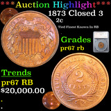 Proof ***Auction Highlight*** 1873 Closed 3 Two Cent Piece 2c Graded pr67 rb By SEGS (fc)