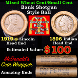 Mixed small cents 1c orig shotgun roll, 1919-s Wheat Cent, 1896 Indian cent other end, McDonalds Wra