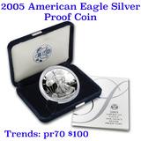 2005-w 1 oz .999 fine Proof Silver American Eagle orig box w/COA