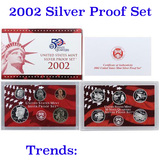 2002 United States Silver Proof Set - 10 pc set, about 1 1/2 ounces of pure silver