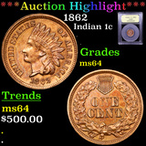***Auction Highlight*** 1862 Indian Cent 1c Graded Choice Unc By USCG (fc)
