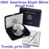 2007-w 1 oz .999 fine Proof Silver American Eagle orig box w/COA