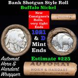 Buffalo Nickel Shotgun Roll in Old Bank Style 'Automat Horn & Hardart' Wrapper 1921 & d Mint Ends Gr