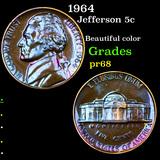 Proof 1964 Jefferson Nickel 5c Grades GEM++ Proof