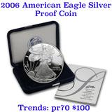 2006-w 1 oz .999 fine Proof Silver American Eagle orig box w/COA