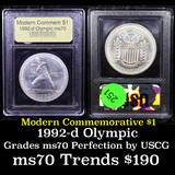1992-d Olympics Modern Commem Dollar $1 Graded ms70, Perfection By USCG
