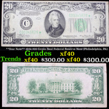 **Star Note** 1934 $20 Green Seal Federal Reserve Note (Philadelphia, PA) Grades xf