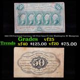 1863 US Fractional Currency 50¢ First Issue Fr-1312 Washington W/ Monigram Grades vf+