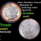 1881-o Rainbow Toned Morgan Dollar $1 Grades Select Unc