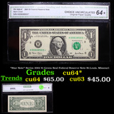 *Star Note* Series 2001 $1 Green Seal Federal Reserve Note St.Louis, Missouri Graded cu64* By CGA