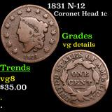 1831 N-12 Coronet Head Large Cent 1c Grades vg details