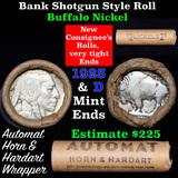 Buffalo Nickel Shotgun Roll in Old Bank Style 'Automat Horn & Hardart' Wrapper 1923 & d Mint Ends Gr