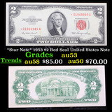 *Star Note* 1953 $2 Red Seal United States Note Grades Select AU