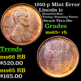 1910-p Mint Error  Lincoln Cent 1c Grades Gem+ Unc RB
